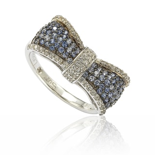 Suzy Levian Sterling Silver Blue & White Sapphire & Diamond Accent Bow Ring