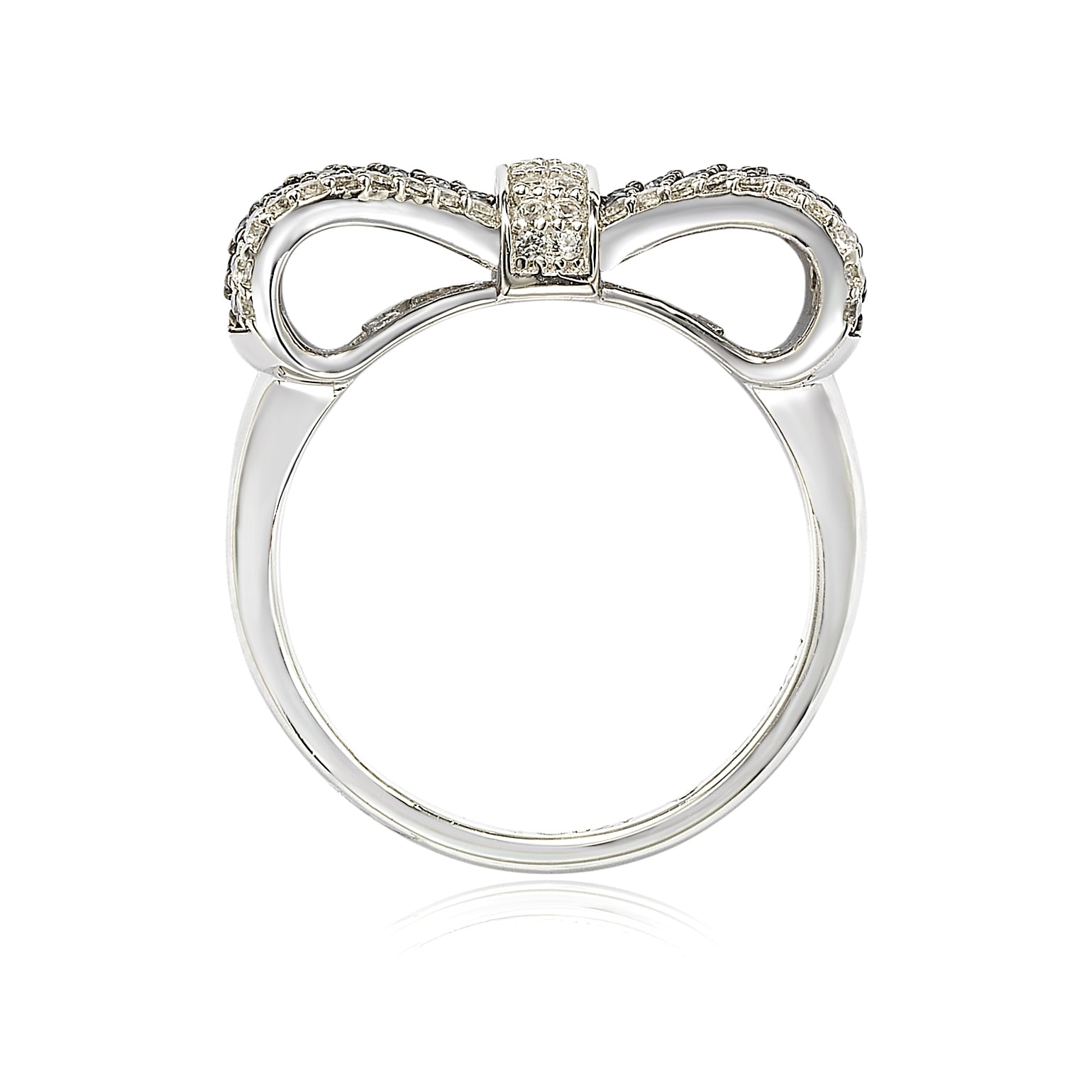 Sterling Silver 2 MM Diamond Bow Ring