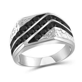 Jewelonfire Sterling Silver 1ct TDW Black Diamond Three Row Men's Ring - White