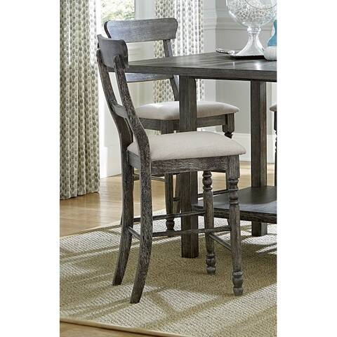 Progressive Muses Weathered Pepper Ladder-back Grey Counter Chair (2/Ctn) - counter height