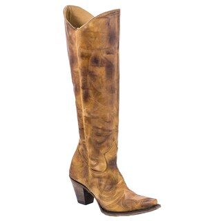 City Slicker Tan Leather Western-style Knee High Boots