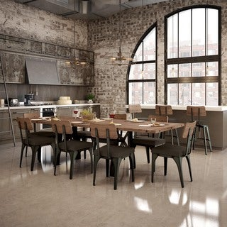 """Amisco Sierra Table with 40"""" x 72"""" Distressed Solid Birch Top and 2 extension leaves 18"""""""