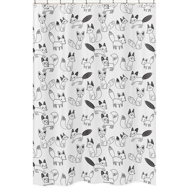 Shower Curtain for the Black and White Fox Collection by Sweet Jojo Designs