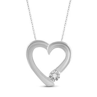 Jewelonfire Genuine Accent White Diamond Heart Pendant in Sterling Silver