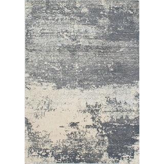 Ecarpetgallery Sky Grey, Ivory Plush Rug (5'3 x 7'7)