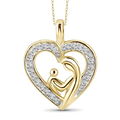 Jewelonfire Gold over Silver White Diamond Accent Mom and Child Heart Pendant