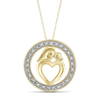 Jewelonfire Gold over Silver White Diamond Accent Mom and Child Circle Pendant