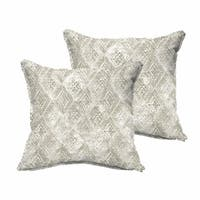 Fellows Grey and White Indoor/ Outdoor Flange Pillow Set