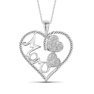 Jewelonfire Sterling Silver 1/7ct TDW White Diamond 'Mom' Heart Pendant