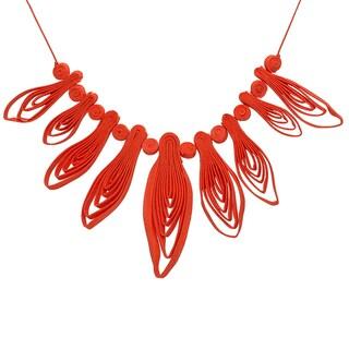 Handmade Brazilian Grasslands Orange Petal Statement Necklace (Brazil)