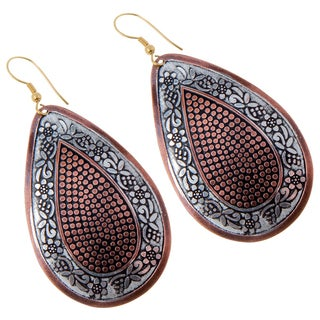 Handmade Hand-painted Brass Dangle Earrings (India)