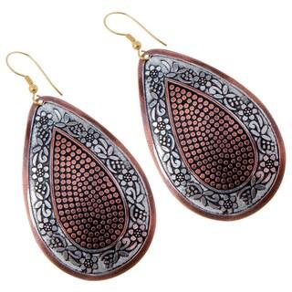Handmade Hand-painted Brass Dangle Earrings (India) - Bronze