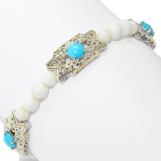 Michael Valitutti Palladium Silver Choice of Length Kingman Turquoise & White Bamboo Coral Toggle Bracelet