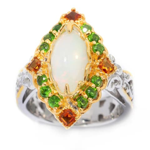 Michael Valitutti Palladium Silver Ethiopian Opal & Multi Gemstone Elongated Ring