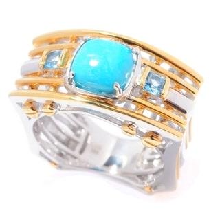 Michael Valitutti Palladium Silver Kingman Turquoise & Swiss Blue Topaz Multi Band Men's Ring