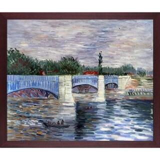 Vincent Van Gogh 'The Seine With the Pont de la Grande Jatte Summer' Hand Painted Framed Oil Reproduction on Canvas