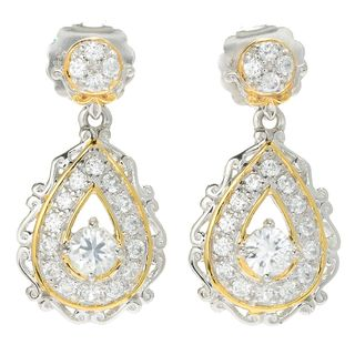 Michael Valitutti Palladium Silver White Zircon Pear Shaped Drop Earrings