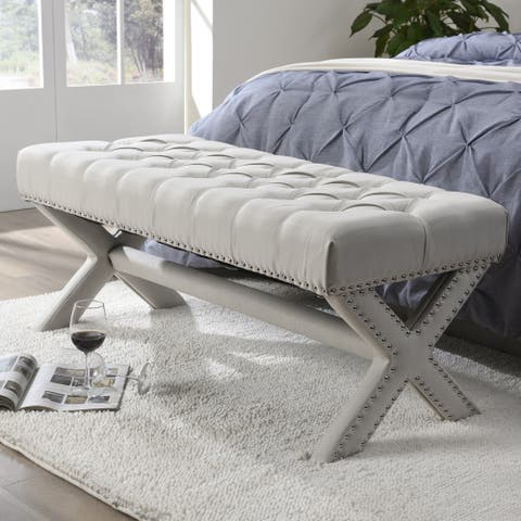 Collins Linen Button Tufted Bench with Silver Nailhead Trim