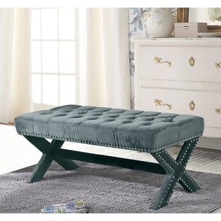 Collins Silver Nailhead Trim Button Tufted Velvet X-Leg Bench