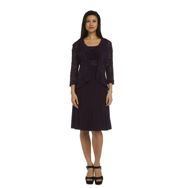 R&M Richards Women's Purple Jacket Dress