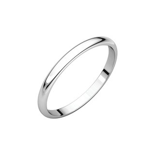 10k White Gold 2 mm Half Round Wedding Band