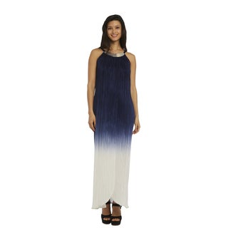 R&M Richards Women's Navy and White Ombre Maxi Dress