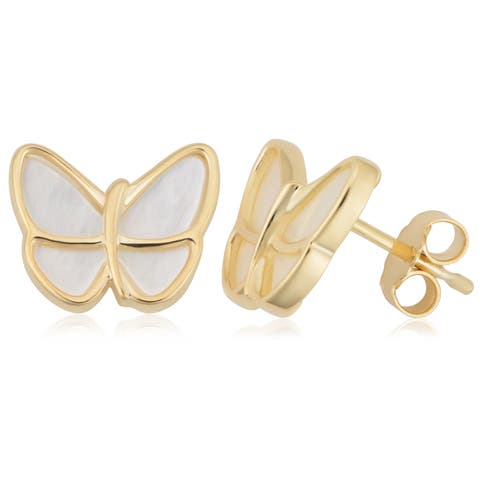 14k Yellow Gold Mother of Pearl Butterfly Earrings
