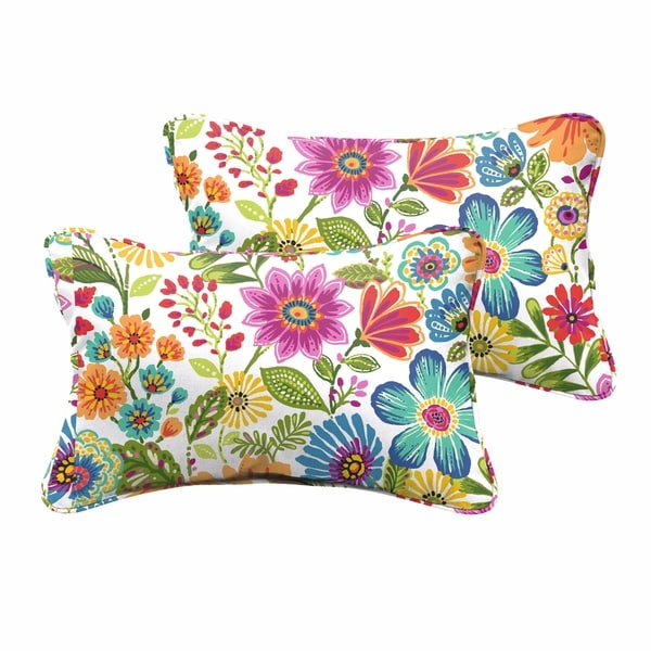 Galliford Multi Floral Indoor/ Outdoor 13 x 20 inch Corded Pillow Set