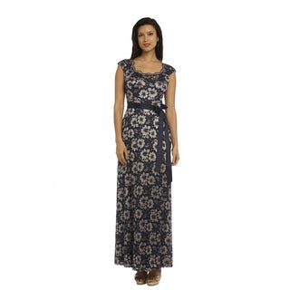 R and M Richards Lace Long Gown - Navy