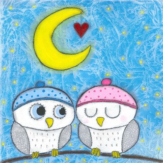 'Loving Owls' Painting Print on Wrapped Canvas