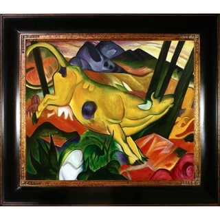 Franz Marc 'Yellow Cow' Hand Painted Framed Oil Reproduction on Canvas