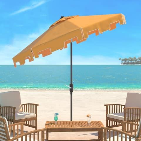 SAFAVIEH UV Resistant Zimmerman 9 Ft Crank Yellow/ White Market Umbrella