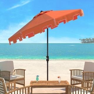 Safavieh UV Resistant Zimmerman 9 Ft Crank Orange/ White Market Umbrella