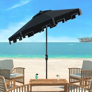 Safavieh UV Resistant Zimmerman 9 Ft Crank Black/ White Market Umbrella