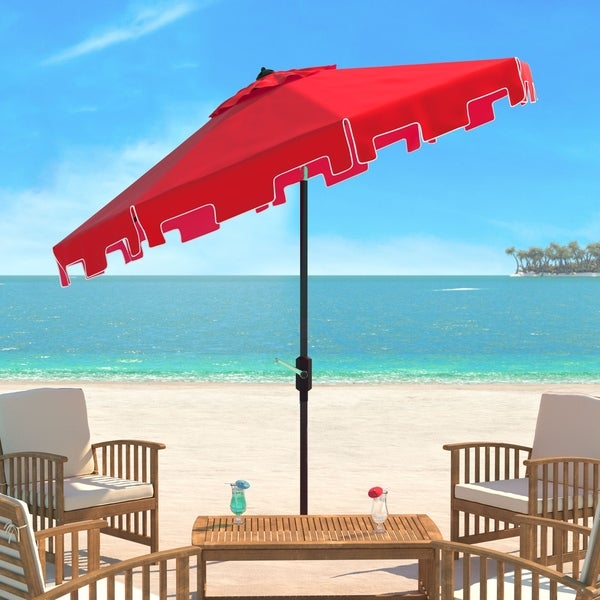 SAFAVIEH UV Resistant Zimmerman 9 Ft Crank Red/ White Market Umbrella. Opens flyout.