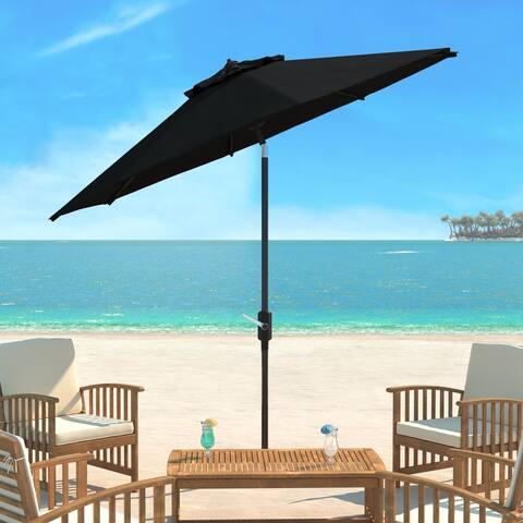 SAFAVIEH UV Resistant Ortega 9 Ft Auto Tilt Crank Black Umbrella