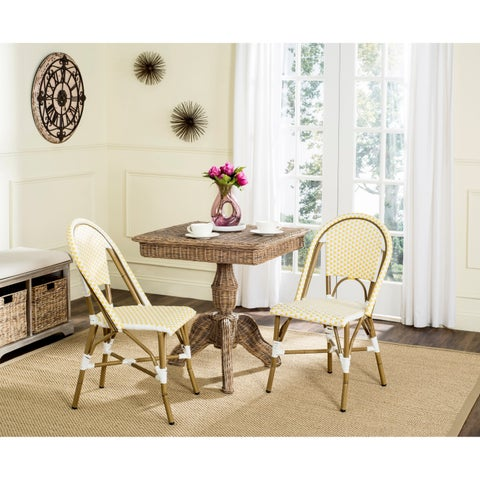 Safavieh Salcha Indoor-Outdoor Yellow/ White Stacking Side Chair