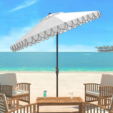 SAFAVIEH Elegant White/ Black Valance 9-foot Umbrella