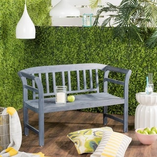 """Link to Safavieh Porterville 2 Seat Ash Grey Bench - 19.7"""" x 49.2"""" x 31.1"""" Similar Items in Patio Furniture"""