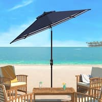 Safavieh Athens Inside Out Striped 9 Ft Crank Navy/ White Outdoor Umbrella