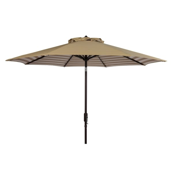 Ordinaire Safavieh Athens Inside Out Striped 9 Ft Crank Beige/ White Outdoor Umbrella