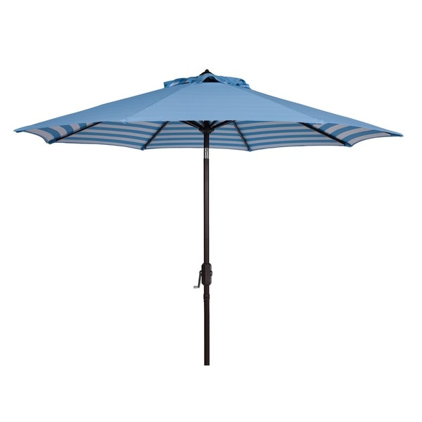 Safavieh Athens Inside Out Striped 9 Ft Crank Blue/ White Outdoor Umbrella