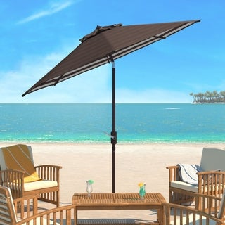 Safavieh Athens Inside Out Striped 9 Ft Crank Grey/ White Outdoor Umbrella
