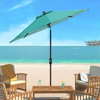 Safavieh Athens Inside Out Striped 9 Ft Crank Dark Green/ White Outdoor Umbrella