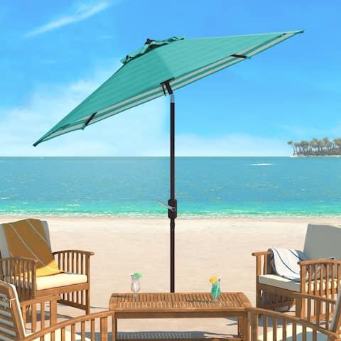 Safavieh Athens Inside Out Striped 9 Ft Crank Dark Green/ White Outdoor Umbrella