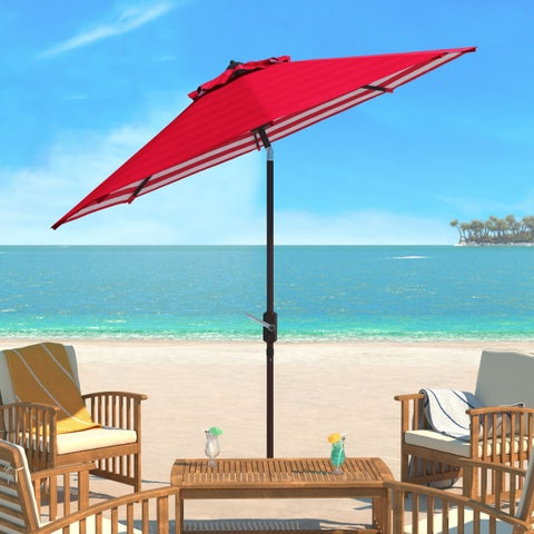 Safavieh Athens Inside Out Striped 9 Ft Crank Red/ White Outdoor Umbrella