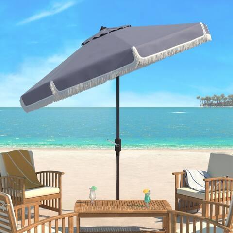 SAFAVIEH Milan Fringe 9 Ft Crank Grey/ White Outdoor Umbrella, Base Not Included