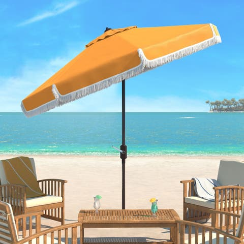 Safavieh Milan Fringe 9 Ft Crank Yellow/ White Trim Outdoor Umbrella