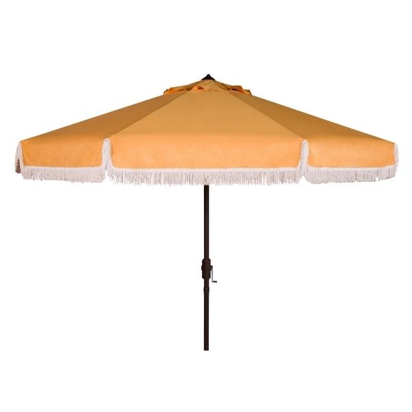 Safavieh Milan Fringe 9 Ft Crank Yellow/ White Trim Outdoor Umbrella