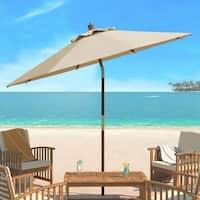 Safavieh Cannes 9 Ft Wooden Beige Outdoor Umbrella